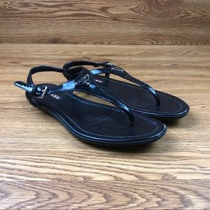 Prada Milano Ankle Strap Black Leather Sandals